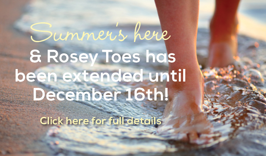 Rosey Toes is back half price pedicure with one hour facial